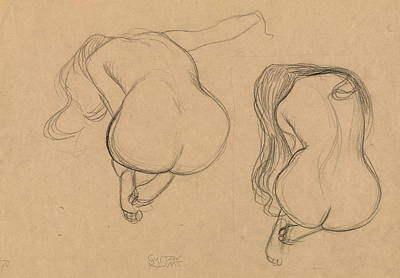 Drawing - Two Studies Of A Seated Nude With Long Hair by Gustav Klimt
