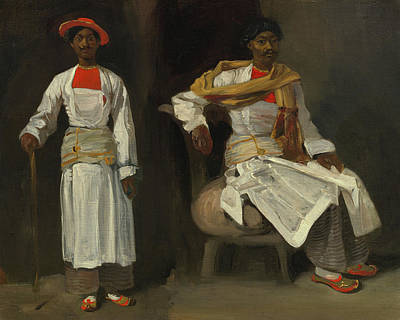 Chair Painting - Two Studies Of An Indian From Calcutta, Seated And Standing by Eugene Delacroix