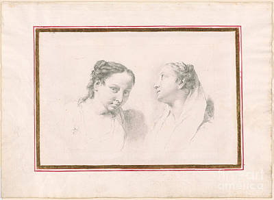 1754 Painting - Two Studies Of Girls by MotionAge Designs