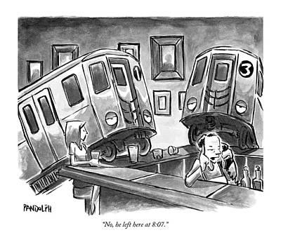 Two Subway Trains Sit Drunk At A Bar Art Print
