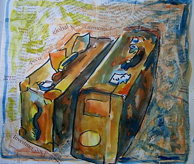 Two Suitcases With Financial Statements Art Print by Tilly Strauss