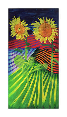 Painting - Two Sunflowers by Gideon Cohn