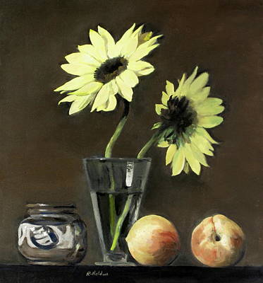 Painting - Two Sunflowers In A Glass With Two Peaches And Pottery by Robert Holden