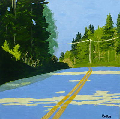 Maine Roads Painting - Two Sunlit Trees by Laurie Breton
