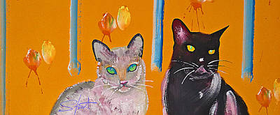 Painting - Two Superior Cats With Wild Wallpaper by Charles Stuart