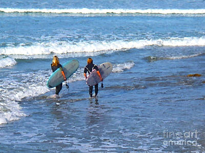 Surf Lifestyle Digital Art - Two Surf Friends by Waterdancer