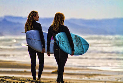 Digital Art - Two Surf Sisters by Waterdancer
