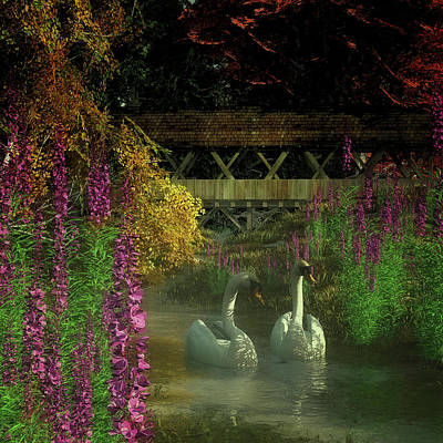 Landscape Painting - Two Swans And A Bridge by Jan Keteleer