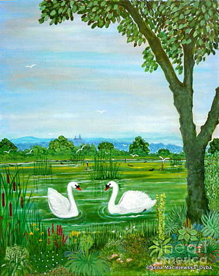 Folkartanna Painting - Two Swans by Anna Folkartanna Maciejewska-Dyba
