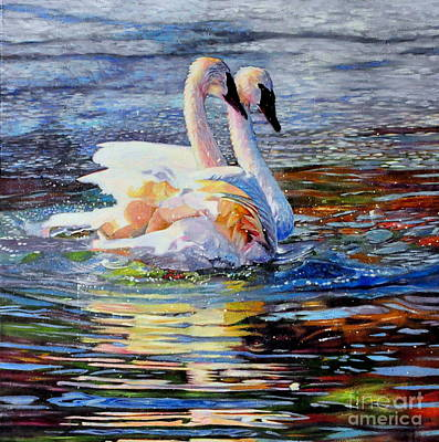 Painting - Two Swans In Love 2 by Kelly McNeil