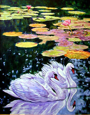 Two Swans In The Lilies Art Print by John Lautermilch