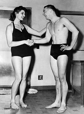 Underwear Photograph - Two Swimming Stars by Underwood Archives