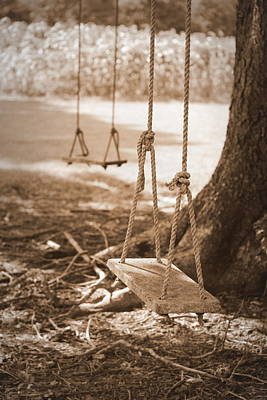 Two Swings - Sepia Art Print by Beth Vincent