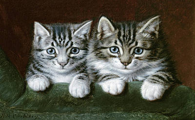 Paws Painting - Two Tabby Kittens  by Horatio Henry Couldery