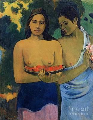 Gauguin Mixed Media - Two Tahitian Women by Gauguin