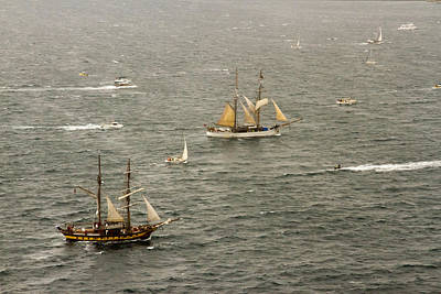 Photograph - Two Tall Ships Enter  Sydney Harbour by Miroslava Jurcik