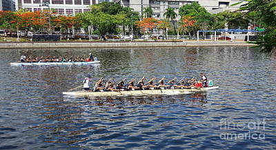 Photograph - Two Teams Train For The Dragon Boat Races by Yali Shi
