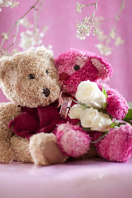 Two Teddy Bears With Roses Art Print