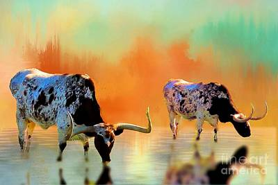 Photograph - Two Texas Longhorns At Watering Hole by Janette Boyd
