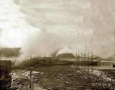 Photograph - Two Three-mast Sailing Barkentine At Lumber Dock 1895 by California Views Mr Pat Hathaway Archives