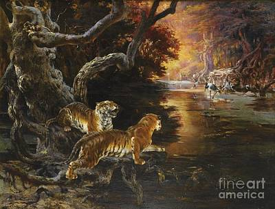 The Tiger Hunt Painting - Two Tigers On The Hunt by Celestial Images