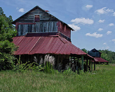 Two Tobacco Barns Art Print