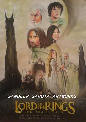 Muslims Of The World Drawing - Two Towers by Sandeep Kumar Sahota