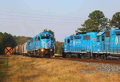 Photograph - Two Train Meet On The Railroad by Joseph C Hinson Photography