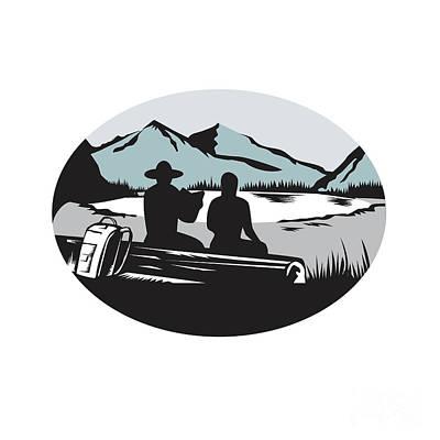 Two Trampers Sitting On Log Lake Mountain Oval Woodcut Art Print by Aloysius Patrimonio