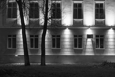 Photograph - Two Trees At Night And The Bright Building In Monochrome by John Williams