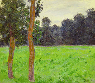 Arbres Painting - Two Trees In A Field by Claude Monet
