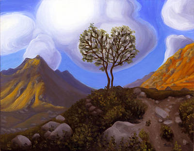 Wall Art - Painting - Two Trees In Archangel Valley by Ruth Hulbert