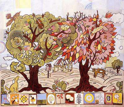Folk Art Mixed Media - Two Trees by Karl Frey