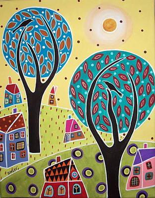 Two Trees Two Birds Landscape Art Print by Karla Gerard