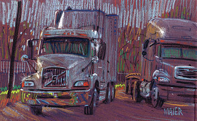 Two Trucks Print by Donald Maier