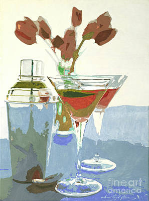 Cognac Painting - Two Tulip Martinis by David Lloyd Glover