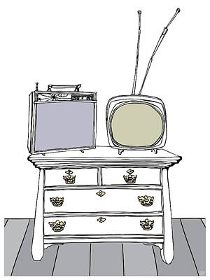 Two Tv's On A Chest Of Drawers Art Print by Stan  Magnan