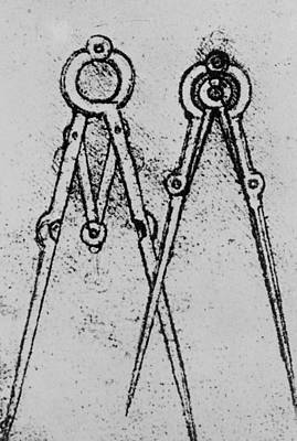 Drawing - Two Types Of Adjustable Opening Compass by Leonardo da Vinci