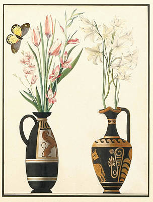 Two Vases Painting - Two Unusual Watercolours Of Attic Vases With Floral Displays by MotionAge Designs