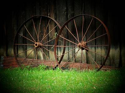 Two Wagon Wheels Art Print by Michael L Kimble