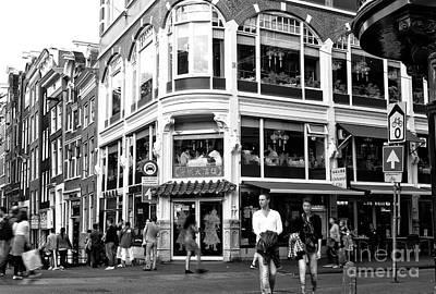 Two Walking In Amsterdam Mono Art Print by John Rizzuto
