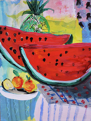 Painting - Two Watermelons And Pineapple by Amara Dacer