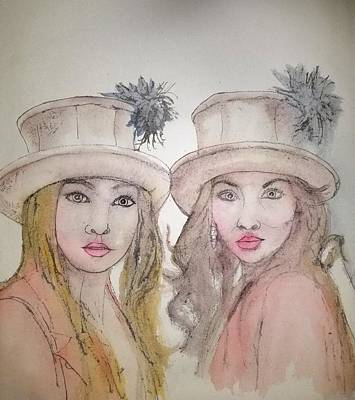 Painting - Two Wearing Hats By Ellen by Debbi Saccomanno Chan