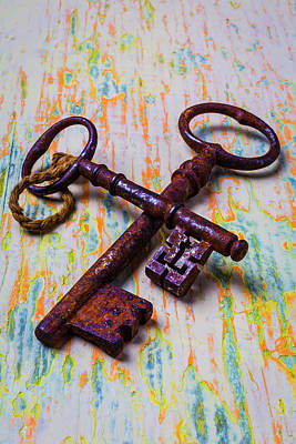 Photograph - Two Weathered Skeleton Keys by Garry Gay