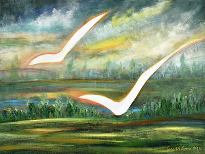 Painting - Two White Birds by Gina De Gorna