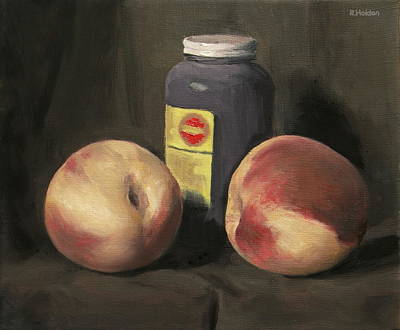 Painting - Two White Peaches And Black Gesso Jar by Robert Holden
