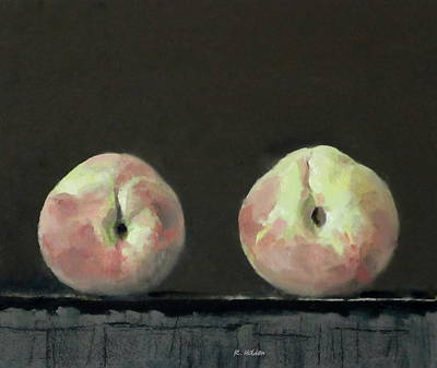 Painting - Two White Peaches by Robert Holden