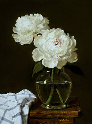 Painting - Two White Peonies In Glass Vase On Wood Step-stool by Robert Holden