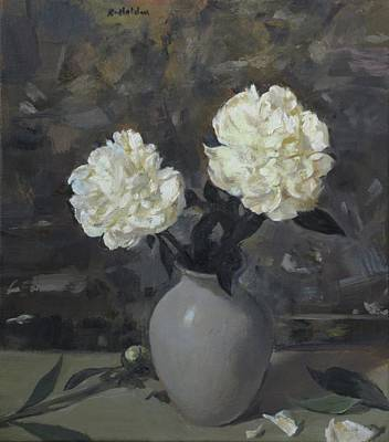 Painting - Two White Peonies In Gray Vase by Robert Holden