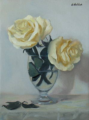 Painting - Two White Roses In A Water Glass by Robert Holden